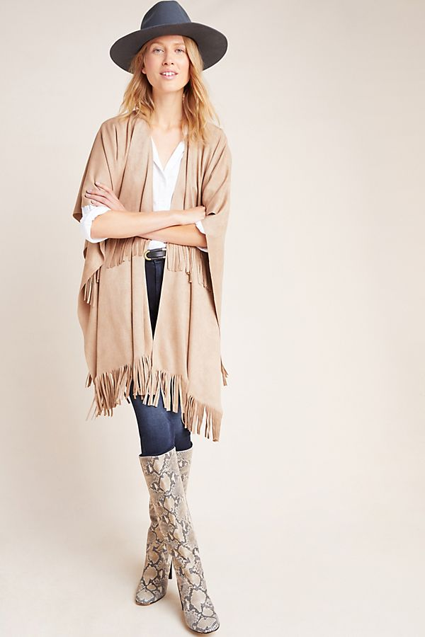 Slide View: 2: Faux Suede Poncho