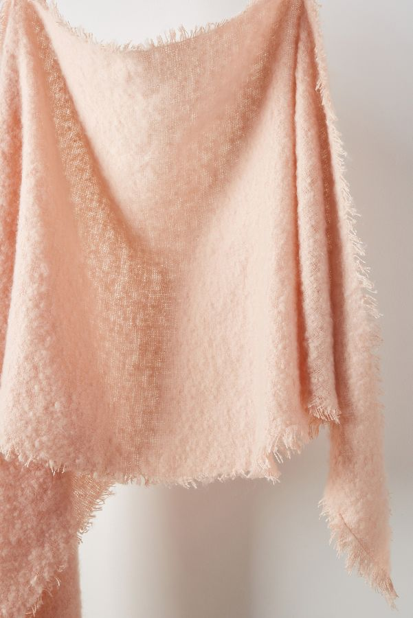 Carraway Boucle Fringed Scarf - Come discover Pretty Pink Christmas Decor Inspiration with holiday interiors as well as shopping resources. #pinkChristmas #holidaydecor #christmasdecorating