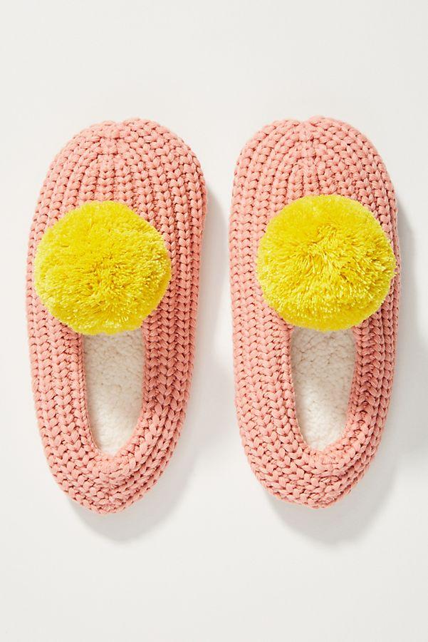 Slide View: 1: Pom-Pom Sock Slippers