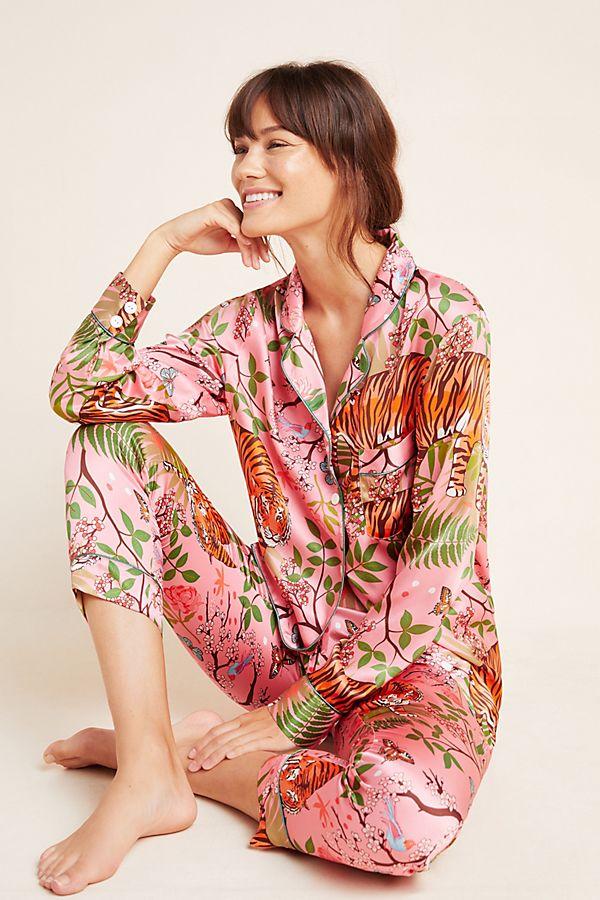Slide View: 1: Karen Mabon Tiger Blossom Silk Sleep Shirt