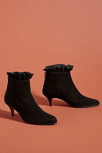 Emma Go Ruffle Kitten-Heeled Ankle Boots