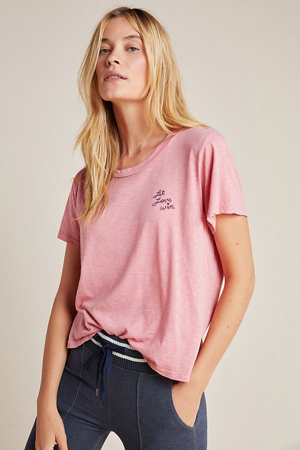 Slide View: 1: Sundry Let Love Win Embroidered Tee