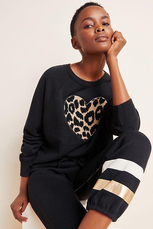 Slide View: 1: Sundry Leopard Heart Sweatshirt
