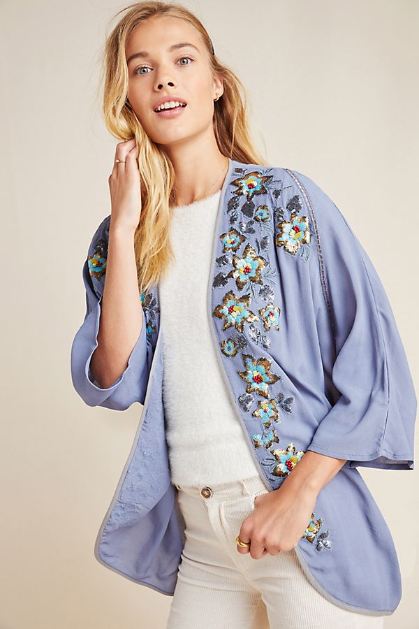 Slide View: 1: Carrie Embroidered Cocoon Kimono