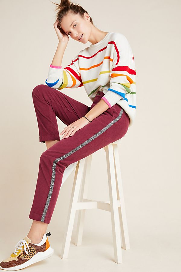 Slide View: 1: Sundry Leopard-Striped Corduroy Trousers