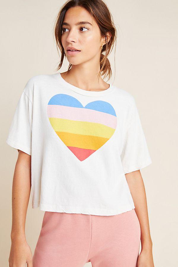 Slide View: 1: Sundry Rainbow Heart Graphic Tee