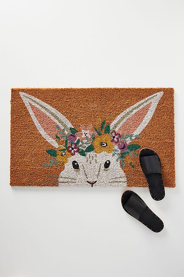 Slide View: 1: Floral Bunny Doormat