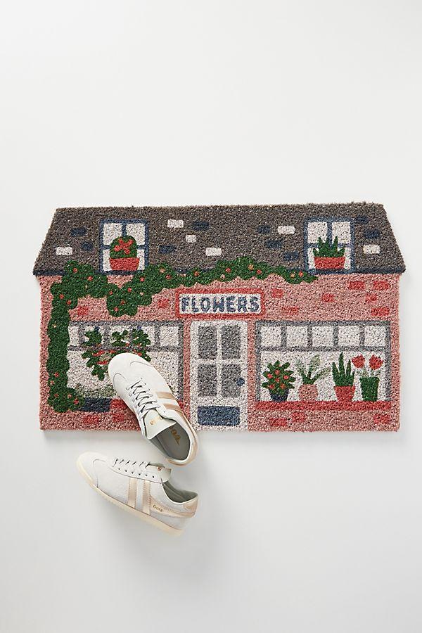 Slide View: 1: Floral Greeting Doormat