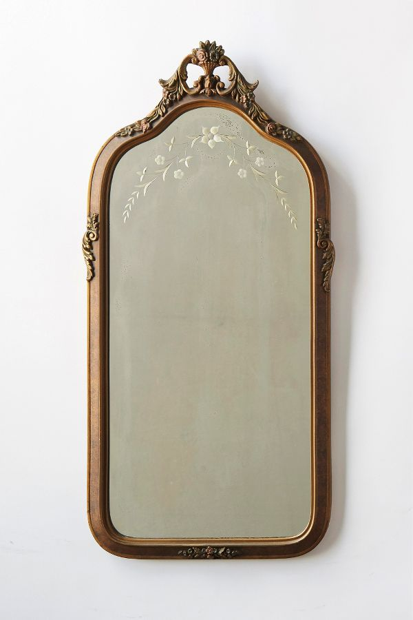 Discover timeless and tranquil furniture and decor resources as you shop My Home: European Inspired, White French Country Decorating Resources including:  Patina Vie Vintage Fanciful Etched Mirror. #hellolovelystudio #etchedmirror