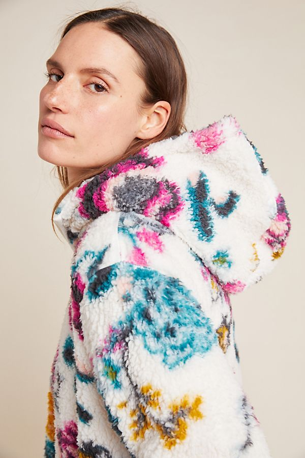 Slide View: 1: Rosemarie Hooded Sherpa Jacket