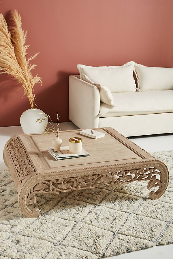 Slide View: 1: Handcarved Nivaan Coffee Table