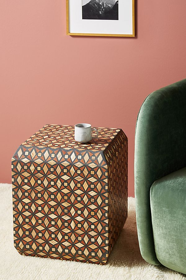 Slide View: 1: Tessellated Inlay Cube Side Table