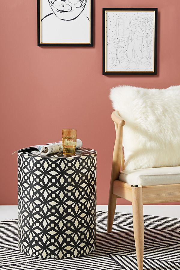 Slide View: 1: Diamante Inlay Drum Side Table