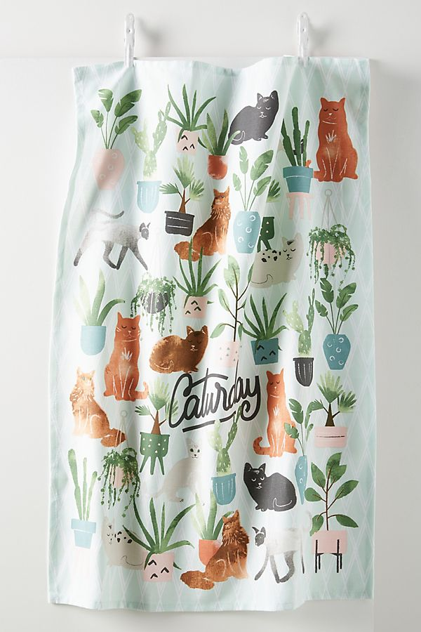 Slide View: 1: Caturday Dish Towel