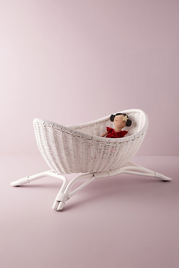 Slide View: 2: Wicker Doll Crib