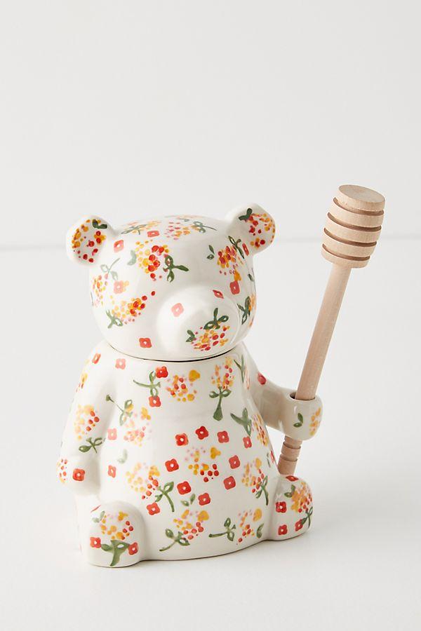 Slide View: 1: Floral Bear Honey Pot
