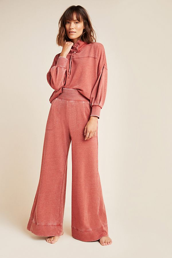 Slide View: 1: Whitney Burnout Velvet Wide-Leg Pants