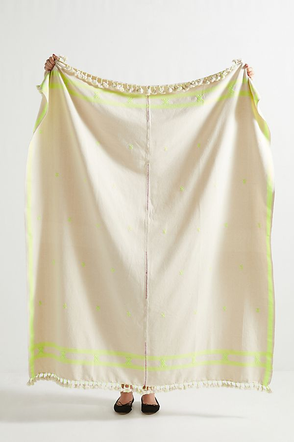 Slide View: 1: Embroidered Jemima Throw Blanket