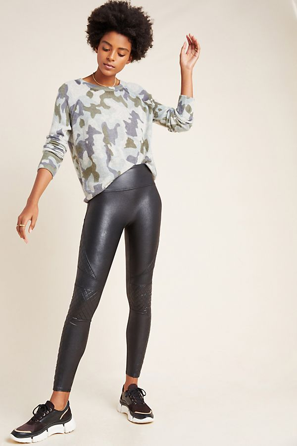 Slide View: 1: Spanx Quilted Faux Leather Leggings