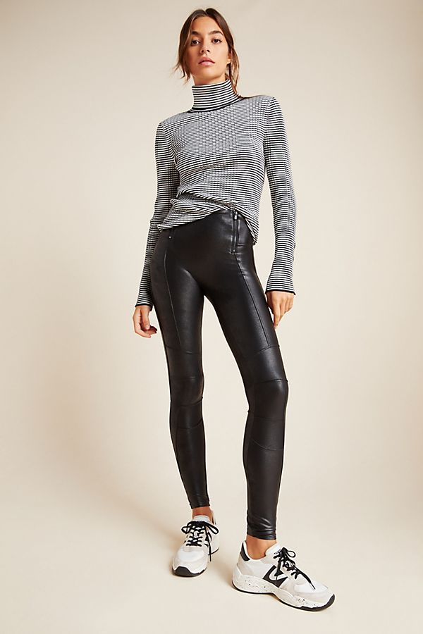 Slide View: 1: Spanx Hip-Zip Faux Leather Leggings