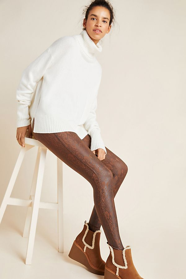 Slide View: 1: Spanx Snake-Printed Faux Leather Leggings