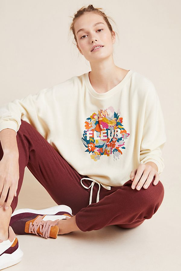 Slide View: 1: Fleur Tie-Waist Graphic Sweatshirt