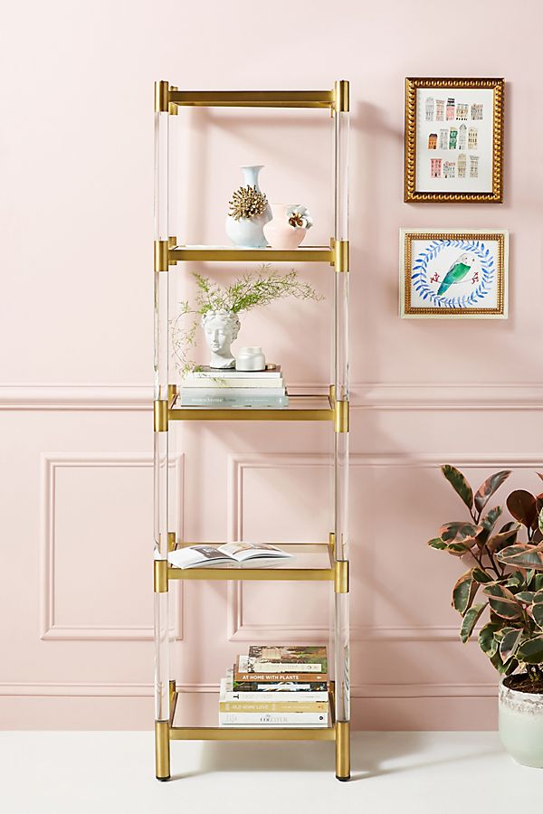 Slide View: 1: Oscarine Narrow Lucite Mirrored Bookshelf