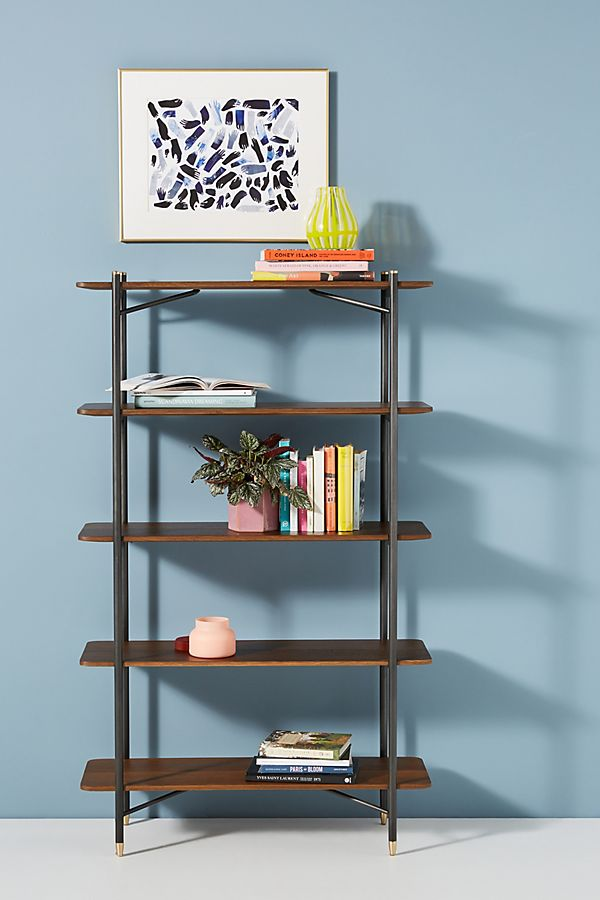 Slide View: 1: Jefferson Five-Shelf Bookshelf