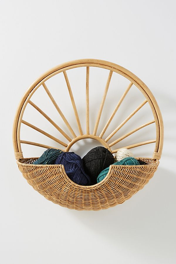 Slide View: 1: Rattan Sun Wall Basket