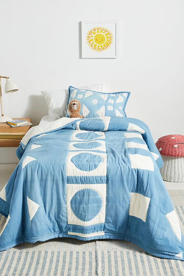 Slide View: 4: Indigo-Dyed Kids Quilt