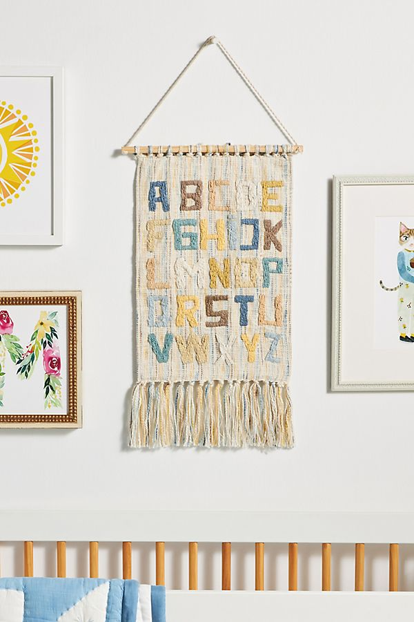 Slide View: 1: Emboidered Alphabet Wall Hanging