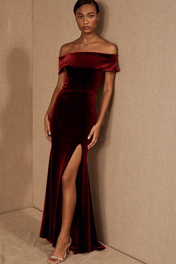 Slide View: 1: BHLDN Fawn Velvet Dress