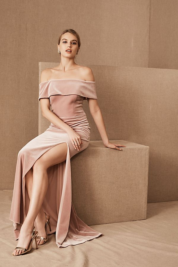 Slide View: 1: BHLDN Fawn Velvet Dress