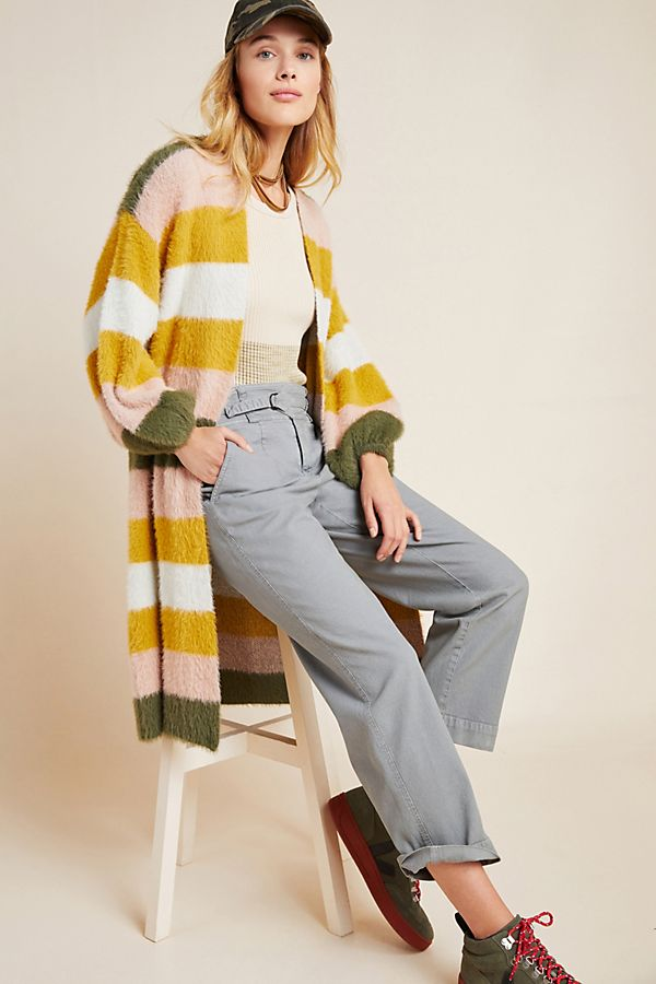 Slide View: 1: Cozy Striped Duster Kimono