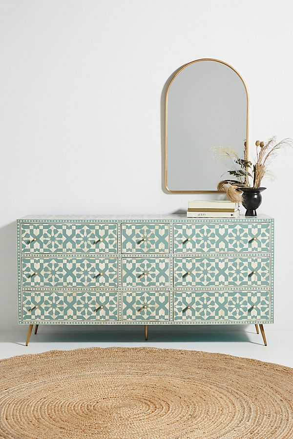 Slide View: 1: Moroccan Inlay Nine-Drawer Dresser