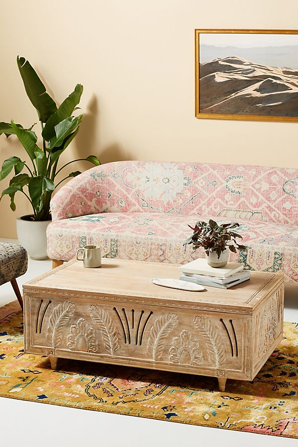 Slide View: 1: Handcarved Lovella Trunk Coffee Table