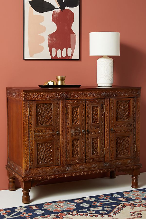 Slide View: 1: Handcarved Sylas Sideboard