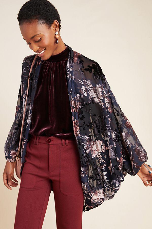 Slide View: 1: Fern Burnout Velvet Kimono