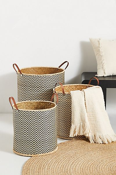 Ziggy Palm Leaf Baskets, Set of 3