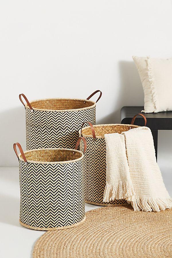 Slide View: 1: Ziggy Palm Leaf Baskets, Set of 3