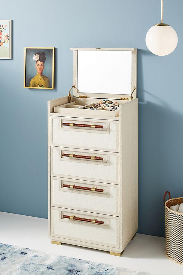 Slide View: 1: Dove Linen Vanity Dresser