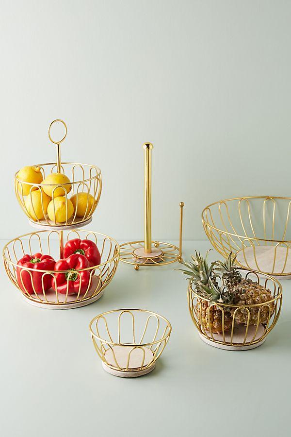 Slide View: 3: Gold Wire Fruit Basket