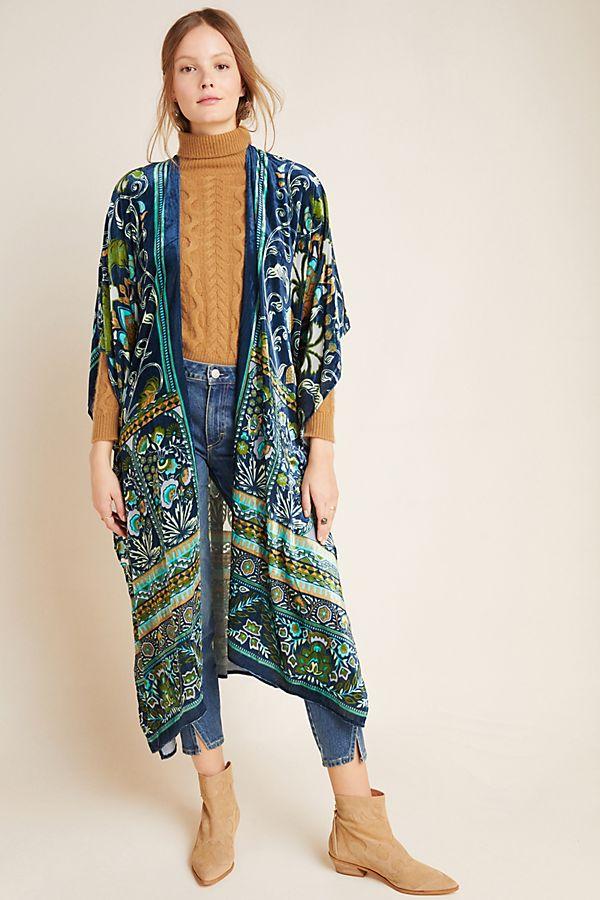 Slide View: 1: Luca Burnout Velvet Kimono
