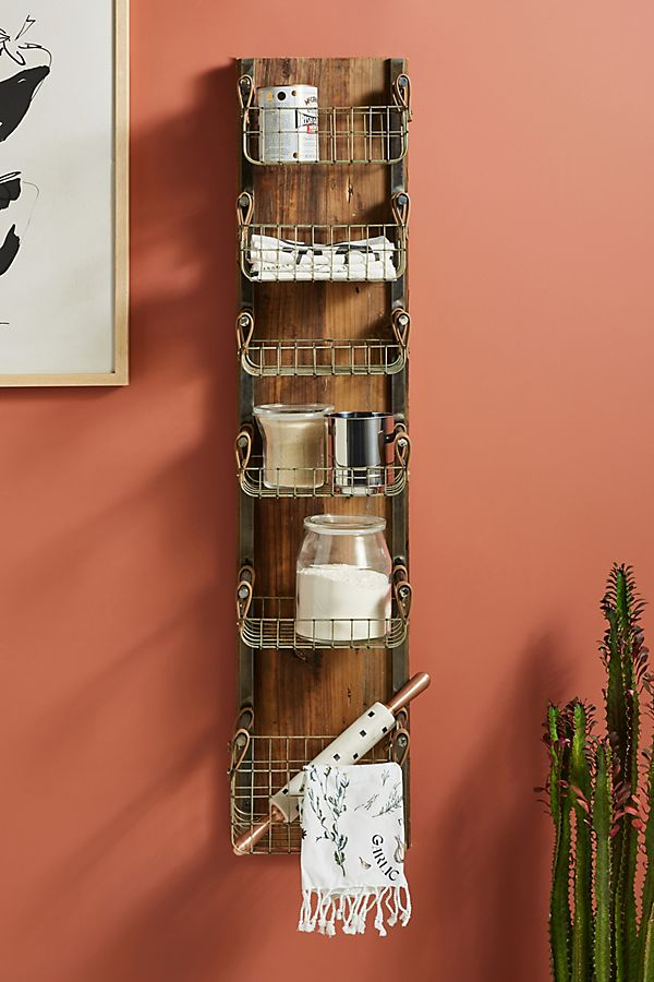 Slide View: 1: Provincial Basket Storage Rack