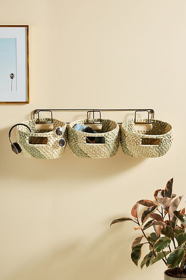Slide View: 1: Handwoven Hanging Baskets, Set of 3