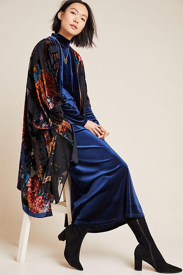 Slide View: 1: Loretta Burnout Velvet Kimono