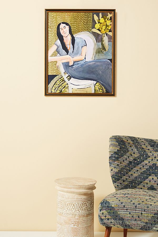 Slide View: 1: Her Love For Yellow Flowers Wall Art