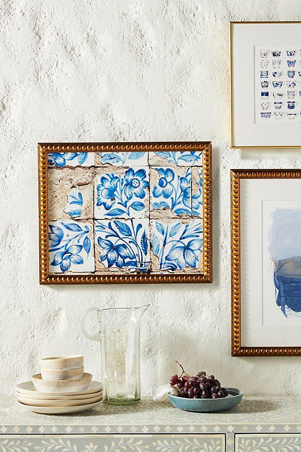 Slide View: 1: Lisbon Floral Tiles Five Wall Art