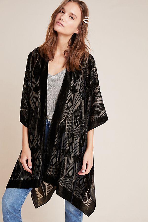 Slide View: 1: Nicolette Burnout Velvet Kimono