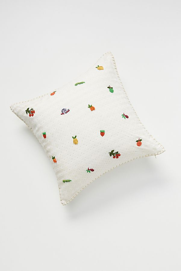 Slide View: 1: Hand-Embroidered Fruit Pillow